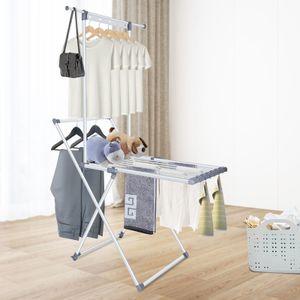 Bigzzia Ausziehbarer Wäscheständer, Faltbarer Wäschetrockner mit 3 Schichten , Wäscheständer, Kleiderturm , Installationsfrei
