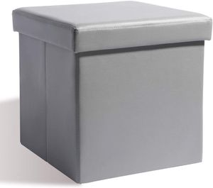 Theo&Cleo Sitzhocker Sitzbank Aufbewahrungsbox mit Stauraum Faltbarer Sitzwürfel Sitztruhe belastbar bis 200 kg, Kunstleder, 38 x 38 x 38 cm (Grau)