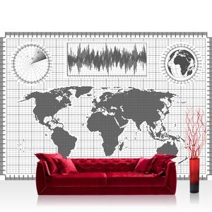 Vlies Fototapete no. 4312  - 368X254 cm Städte & Länder Tapete Landkarte Karte Kontinent Globus  Atlas Wissenschaft grau