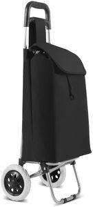 GOPLUS Einkaufstrolley Schwarz, Einkaufsroller Klappbar, Einkaufswagen bis 35kg, Einkaufstasche mit Rollen, 33L