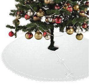 XXL Weihnachtsbaumdecke 120 cm Fleece mit Knöpfen und Satinbänder rund weiß creme Christbaum Christbaumdecke Tannenbaumdecke