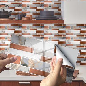 24.12.48 Selbstklebende Mosaikfliesenaufkleber Küche Bad Wanddekoration