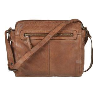 Bear Design Damen Tasche Ledertasche Umhängetasche Schultertasche cognac 28x21cm CL35735-cognac