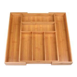Schramm® Besteckkasten aus Bambus für Schubladen größenverstellbar 30-48x46x5 cm Schubfacheinlage Schubladeneinsatz 5 - 7 Fächer Besteckeinsatz Küchenorganizer