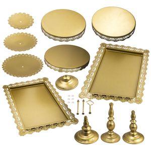 6×Tortenständer Kuchenständer aus hochwertigem Eisen 3 Etagen Runde Gold