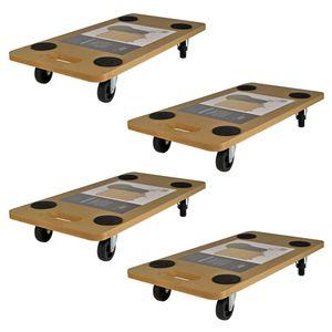 4 er Transportroller mit Antirutschpunkten Rollbrett Transportbrett Möbelroller