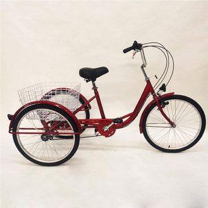"""24"""" 3- Rad Dreirad Citybike für Erwachsene mit Lampe 6-Gang-Fahrrad Trike Cruise Basket Sitz"""