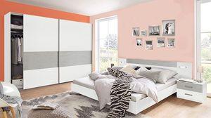 Schlafzimmer Set komplett 4-teilig Angie weiß / beton lichtgrau