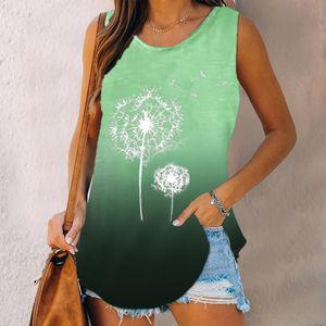 Damen Casual O-Neck Ärmellos Blumendruck Lose Sommer Tank Top Shirt Größe:XXL,Farbe:Grün