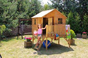 Kinderspielhaus Spielhaus Holz-Gartenhaus Spielhütte aus Holz für Kinder - (3993)