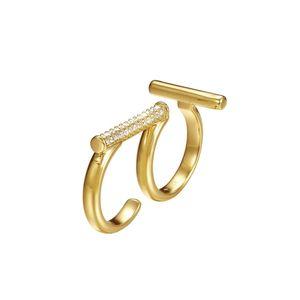 Joop Damen Ring Edelstahl gold Delicate Doppelring JPRG00006B1, Ringgröße:56 (17.8 mm Ø)