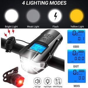 LED Fahrradbeleuchtung Fahrradlicht Fahrradlampe Set + Rücklicht USB Aufladbar NEU