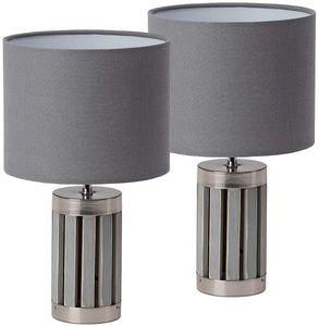BRUBAKER 2er Set Tisch- oder Nachttischlampen - 33 cm Höhe - Fuß aus Holz/Metall Grau - Textilschirm Grau