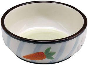 futternapf Kaninchen 10 cm 0,36 Liter Keramik weiß/blau