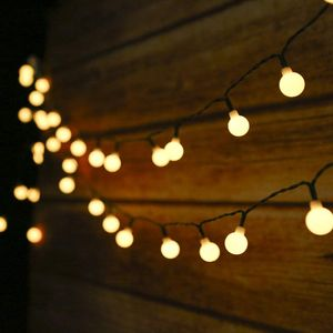 Solar Lichterkette Aussen Tomshine 50Leds, 6,9 Meter Solar Lichterkette Außen mit 50 LED Kugel, 8 Lichtmodi/Wasserdicht Warmweiß, Solarbetriebene Lichterkette