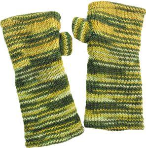 Handstulpen, Hangestrickte Wollstulpen aus Nepal, Melierte Armstulpen, Pulswärmer - Lemon, Unisex, Grün, Wolle, Handstulpen