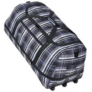 XXL Rollenreisetasche COCOONO 100-135 Liter Volumen Reisetasche faltbar Trolley Koffer STORM Tasche (Black Checker ( Grau Weiss kariert ))