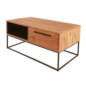 Massiver Couchtisch STRAIGHT 110cm Akazienholz natur schwarz Industrial Stil Wohnzimmertisch Holztisch