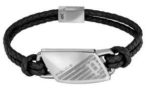 Police Herren Armband Lederband schwarz silber PJ26559BLS.01