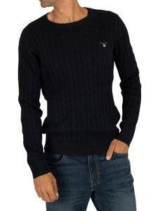 Gant Herren Baumwollkabel Sweatshirt, Blau M