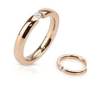 Damen Ring Edelstahl Zirkonia Kristall Partnerring Ehering Verlobungsring Rosé rose-gold 49 - Ø 15,70 mm