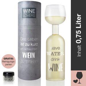 """Wine Lovers Weinflasche Glas """"Save Water, Drink Wine"""" - Weinglas Flasche XXL - inkl. Reinigungsperlen"""