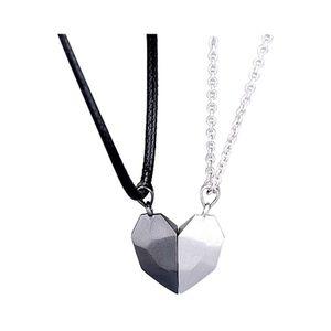 Mllaid Einfaches schwarzes weißes ecklace Paar Schlüsselbein Kette mit Liebe Herz Anhänger Choker Schmuck Zubehör