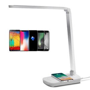 Aigostar Schreibtischlampe Led Ladefunktion Qi Augenschutz Induktiv Kabellos Wireless Handy Laden Tischlampe Tageslicht Tischleuchte mit USB Anschluss Büro Kinder, 5W (13 Watt) Dimmbar Weiß [Energieklasse A++]