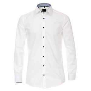 Größe 40 Venti Hemd Dunkelrot Struktur Uninah mit Besatz Langarm Modern Fit tailliert Kentkragen Kombimanschette 100 % Baumwolle Bügelfrei