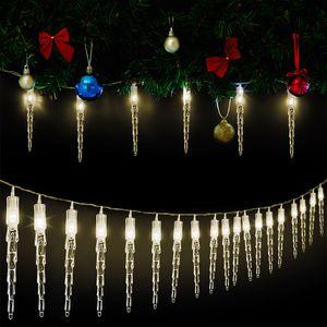 30 LED Lichterkette Eiszapfen Warmweiß 5,9m - Weihnachtsbeleuchtung Weihnachtsdekoration Eisregen