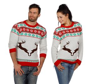 Wilbers Weihnachtspullover Rentier weiß Gr. S bis  XXL Weihnachtspulli Christmas Gr. M
