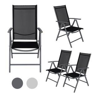 2er 4er Set Alu Klappstuhl Gartenstuhl Aluminium Camping verstellbar Balkonstuhl, Farbe:Dunkelgrau, Größe:4er-Set