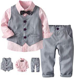 Baby Bekleidungsset Gentleman Anzug Kleinkinder Taufe Hochzeit weißnachten Sakkos Anzüge Fliege Spielanzug Hemd+Hose+Weste Rosa 6 Jahre