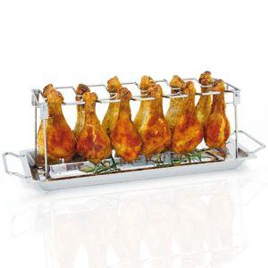 bremermann Hähnchenschenkel-Halter für 12 Keulen oder Chicken Wings, inkl. Auffangschale, aus Edelstahl, klappbar