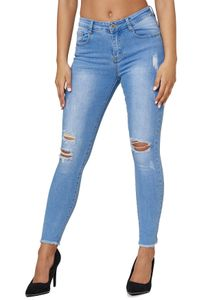 Damen Denim Skinny Stretch Jeans High Waist Destroyed Fransen Design Hose Bleached Slim Pants , Farben:Blau, Größe:38