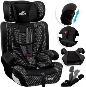 KIDIZ® Autokindersitz Kindersitz Kinderautositz | Autositz Sitzschale | 9 kg - 36 kg 1-12 Jahre | Gruppe 1/2 / 3 | universal | zugelassen nach ECE R44/04 | 6 verschiedenen Farben |, Farbe:Schwarz