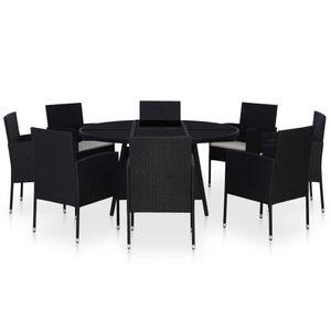 Huicheng Poly Rattan 9-tlg. Garten Essgruppe Sitzgruppe Gartenmöbel Set Schwarz mit Rund Tisch, 8 Gartensessel und Kissen