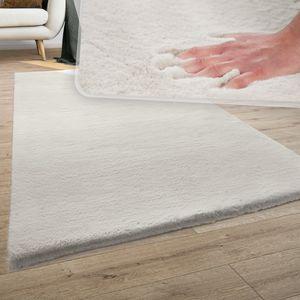 Teppich Wohnzimmer Kunstfell Plüsch Hochflor Shaggy Super Soft Waschbar In Creme, Grösse:200x290 cm