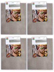 4er Set BBQ Grillmatte Antihaft Dauer Grillmatten | Glasfaser Grillunterlage | Bratfolie Grill Unterlage Backmatte