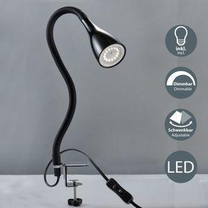LED Klemmleuchte flexibel Schwanenhals inkl. GU10 5W 400 Lumen dimmbar Helligkeitstufen Metall/Kunststoff schwarz Warmweiß IP20 B.K.Licht