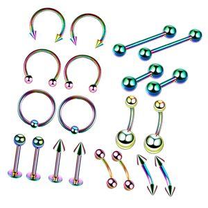 20 / Set Piercingschmuck Set für Bauchnabelpiercing 10mm Mehrfarbig Bar / Langhantel