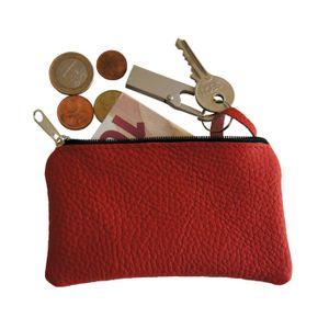 Schlüsseletui, Schlüsseltasche, Schlüsselmäppchen Farbe Rot Echt Leder Neu