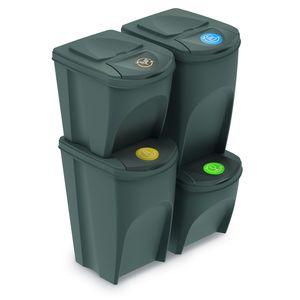 Sortibox Mülleimer Mülltrennsystem Abfalleimer Behälter Mülltrennung Recycling 2x25L 2x35L Grau