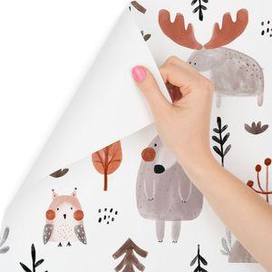 10m VLIES TAPETE Rolle Kinderzimmer Wald Waldtiere Bären Elche Bäume XXL
