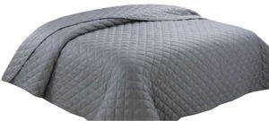 Tagesdecke Wohndecke Bettüberwurf 220x240 cm Anthrazit gesteppt wattiert Doppelbett