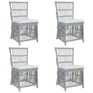 HM Essstühle Küchenstühle Skandinavische Esszimmerstühle mit Kissen 4 Stk. Esstischstühle Polsterstühle Grau Natur Rattan