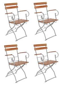4er Set Biergartenstuhl Gartenstuhl mit Armlehnen klappbar Akazie