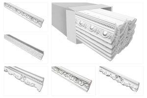 Stuckleisten silber gemustert, EPS Styropor formfest, Marbet Serie-B Sparpakete, Alle Modelle:B-24 silber / 70x90mm, Menge:40 Meter / 20 Leisten
