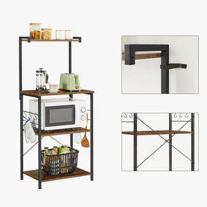 VASAGLE Küchenregal mit 3 Ablagen und 6 S-förmigen Haken Standregal vintagebraun-schwarz KKS023B01