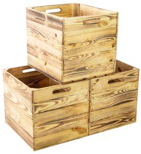 4er set Holzkiste geflammt passend für Kallax und Expeditregale